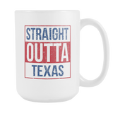 Straight Outta Texas Baseball Coffee Mug, 15 Ounce