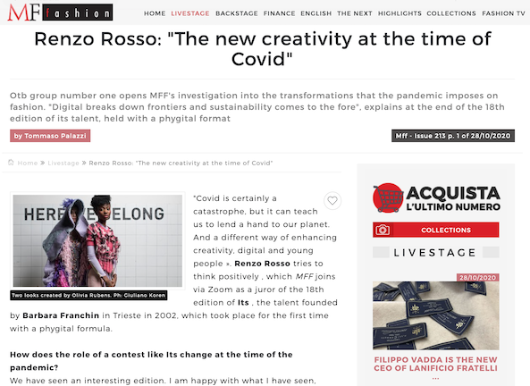 """MF Fashion - Renzo Rosso: """"The new creativity at the time of Covid"""""""