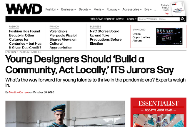 WWD - Young Designers Should 'Build a Community, Act Locally,' ITS Jurors Say