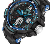 Tactical Sports Watch Black and Blue Face