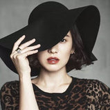 Modeled Wide Brimmed Ladies Hat Black