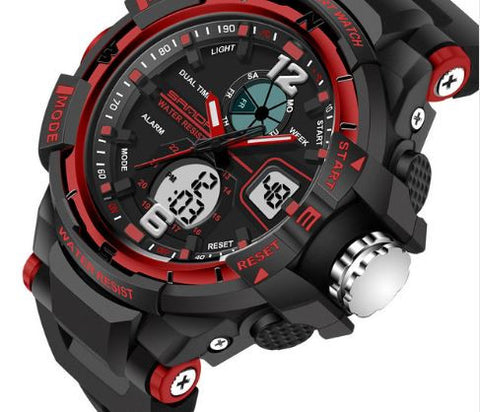 Tactical Sports Watch Black and Red Face