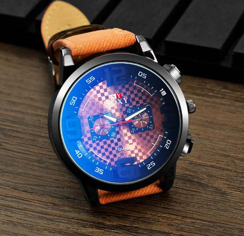 Quartz World Face Wristwatch Leather Band