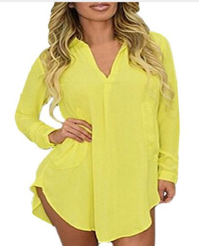 Modeled Plus Size Shirt Dress - Yellow