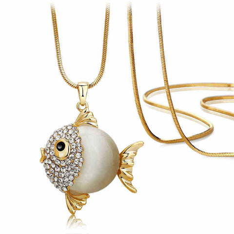 New Fashion Accessories Cute Fish Shape Necklace Pendants New Arrival Long Chain 3 Colors