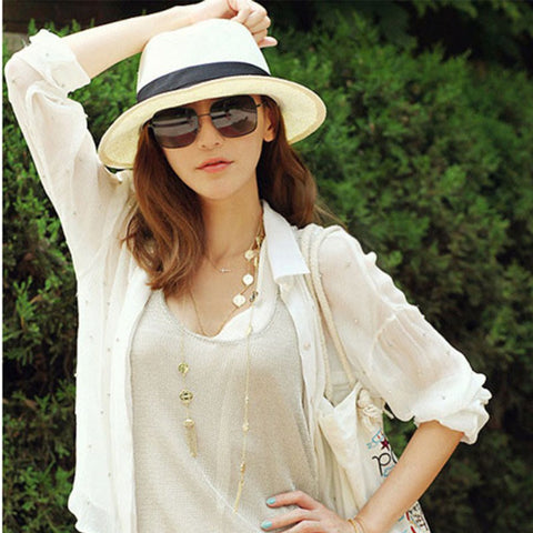 Chic Women's Summer Wide Brim Straw Hat