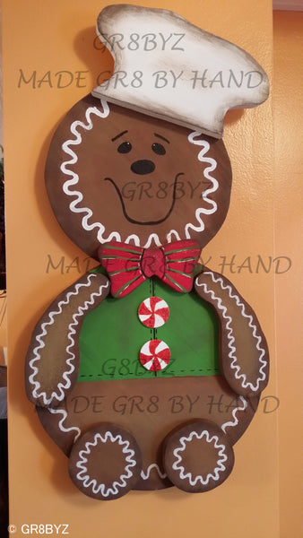 GINGERBREAD BAKING MAN wood extra large, chef hat, foodie, bakery shop decor, cookie cutter