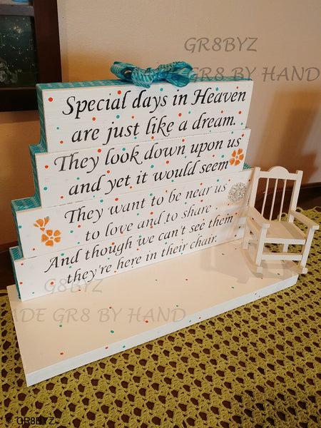 Special Days in Heaven poem table top display handmade memorial decor