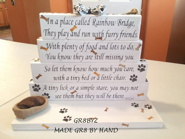 Dog Memorial poem display with dog bed BRIDGE TO A RAINBOW by GR8BYZ - gr8byz4u.myshopify.com