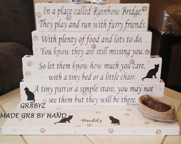 Cat Memorial poem display with cat bed BRIDGE TO A RAINBOW by GR8BYZ - gr8byz4u.myshopify.com
