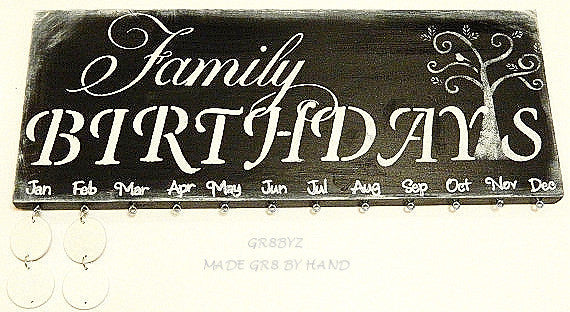 Family Birthday Board, Black wall hanging, calendar, reminder organizer plaque by gr8byz - gr8byz4u.myshopify.com