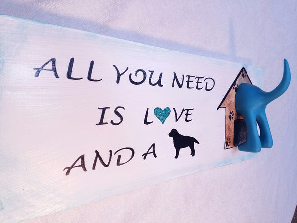 Dog Leash holder sign Turquoise by gr8byz