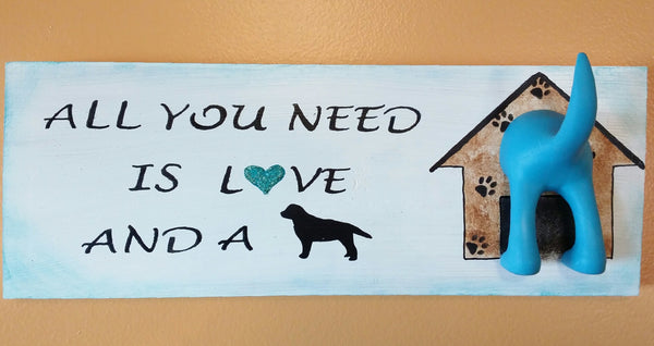 All You Need is Love and a Dog leash holder sign Turquoise by gr8byz - gr8byz4u.myshopify.com