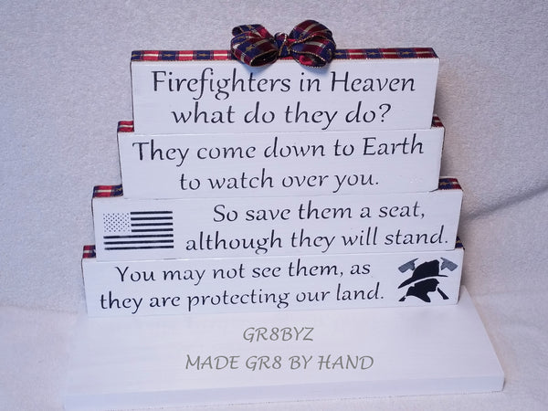 FireFighters in Heaven tabletop display, First Responder, Fire & Rescue by gr8byz - gr8byz4u.myshopify.com