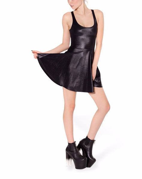 Faux Fur Wet Look Leather Skater Dress