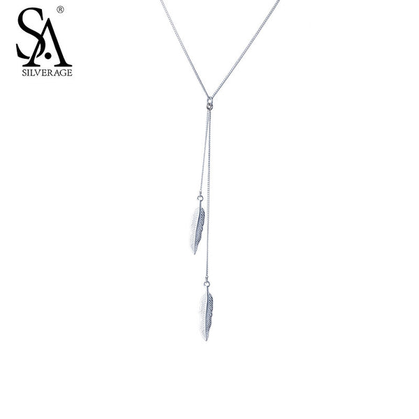 Women Feather Tassel Sterling Silver Necklace & Pendant