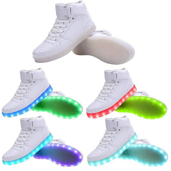 Black White Red LED Shoes, Light Up Sneakers