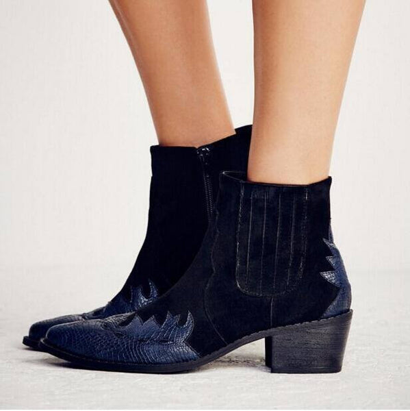 Women  Vegan Suede Ankle Boots Western Boots