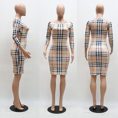 Plaid Slim Party Plus Size Dress
