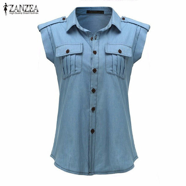 Sleeveless Denim Shirt