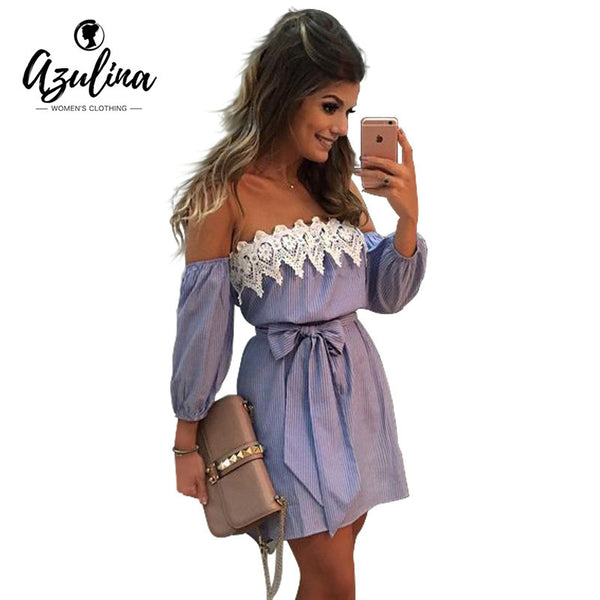 Off Shoulder Plus Size Mini Dress With Belt
