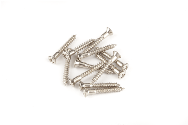 Pure Vintage Strap Button Mounting Screws, Nickel (12)