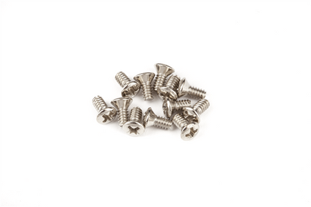 "Slide Switch Mounting Screws - Jaguar®/Jazzmaster®, (4-40 X 1/4"" philips), Nickel (12)"