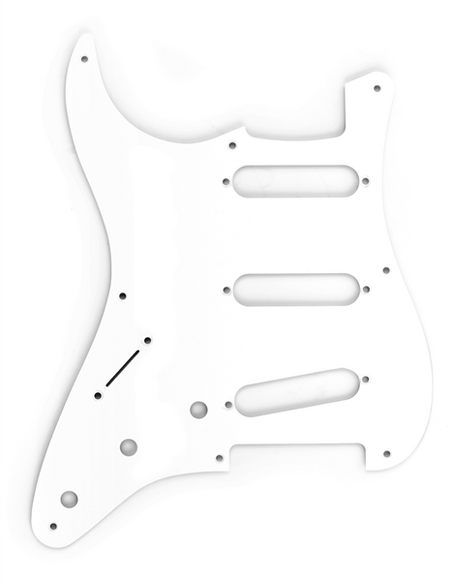 Pickguard, Stratocaster® S/S/S (Left-Hand), 8-Hole Mount, White, 1-Ply