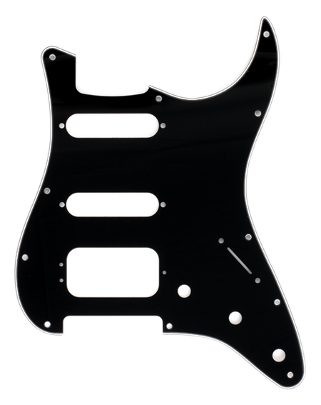Pickguard, Stratocaster® H/S/S, 11-Hole Mount (3-Screw Mount HB), Black, 3-Ply