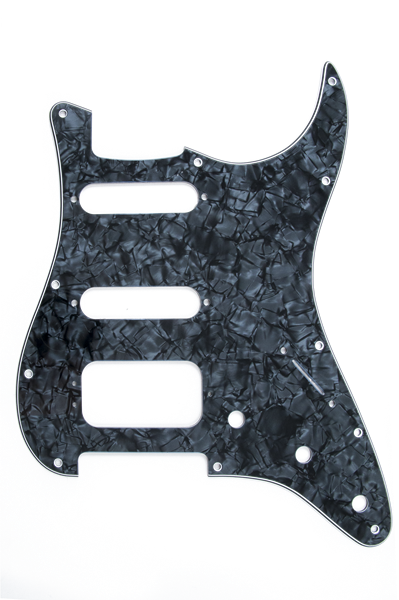 Pickguard, Stratocaster® H/S/S (3-Screw Mount HB), Black Pearl, 11-Hole Mount, 4-Ply