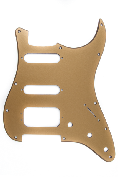 Pickguard, Stratocaster® H/S/S, 11-Hole Mount (3-Screw Mount HB), Gold Metallic, 1-Ply