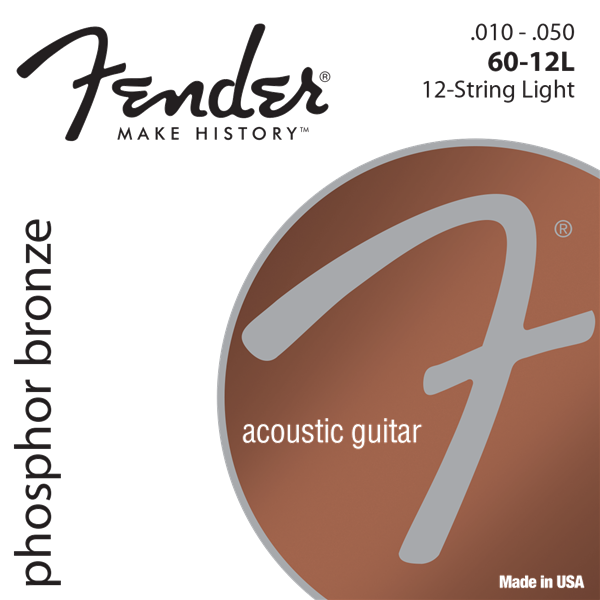 Phosphor Bronze Acoustic Guitar Strings, Ball End, 60-12L .010-.048 Gauges, Set of 12