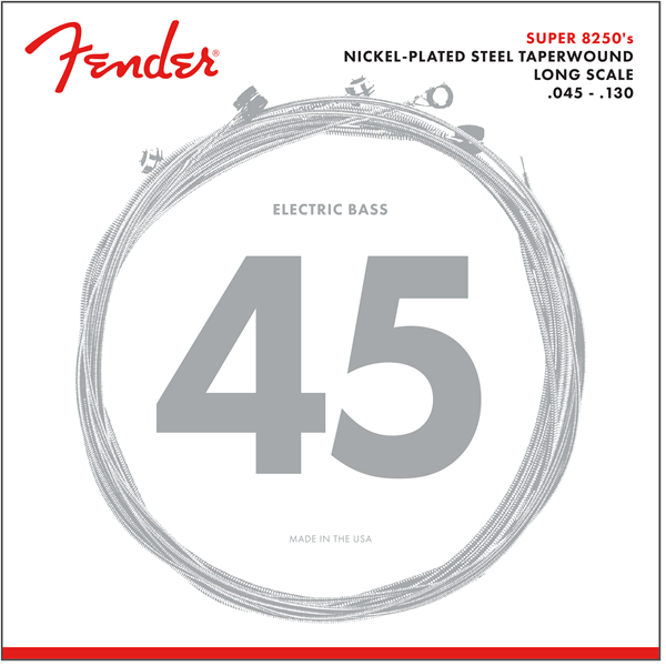 8250 Bass Strings, Nickel Plated Steel Taper Wound, Long Scale, 8250-5M .045-.130 Gauges, (5)