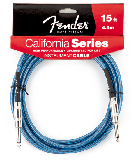 Fender® California Instrument Cable, 15', Lake Placid Blue