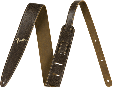 "Fender® 2"" Distressed Leather Strap, Brown"