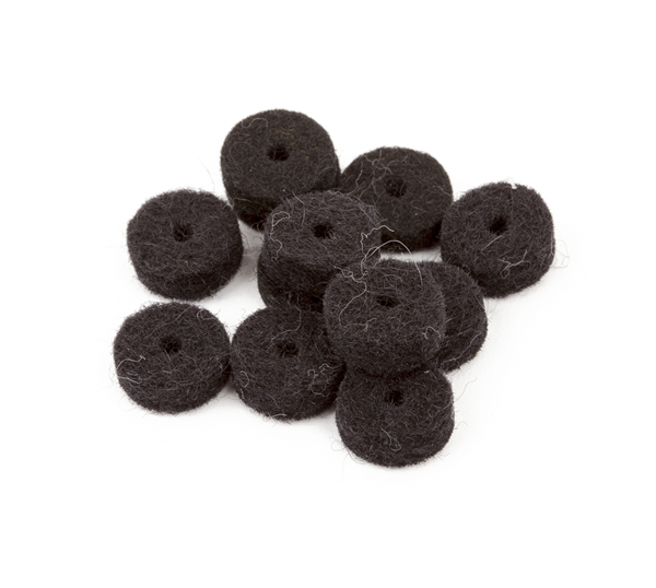 Black Strap Button Felt Washers (12)