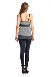 Women's Striped Dot V-Neck Tank
