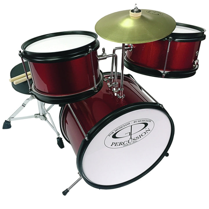 GP Percussion GP40WR 3 Piece Junior Drum Set in Wine Red