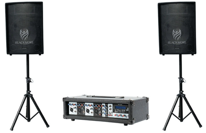 "Blackmore 8 Channel Powered Mixer, Mics, 15"" Cabinets & Stands Pack"