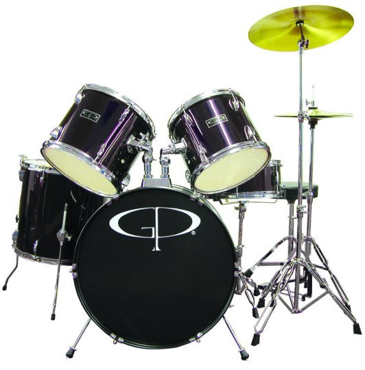 "GP Percussion ""Player"" 5 Piece Full Size Drum Set - GP100B"