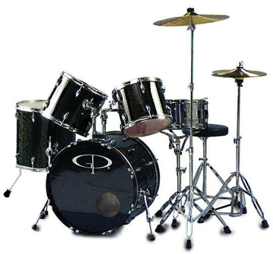 "GP Percussion ""Performer"" 5 Piece Full Size Drum Set - GP200B"