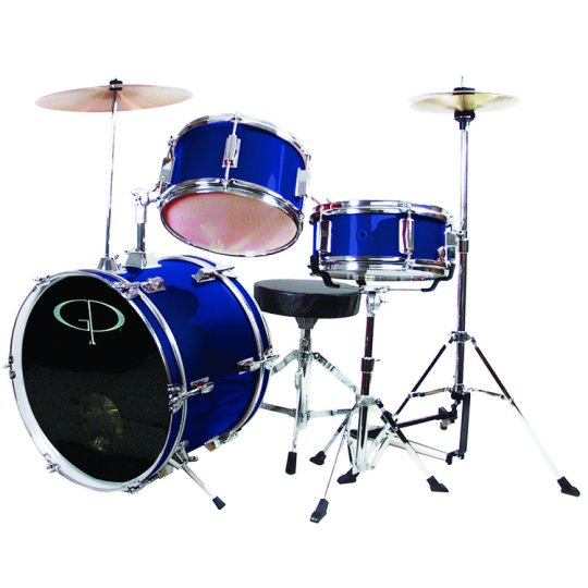 "GP Percussion GP50BL 16"" 3 Piece Junior Drum Set - Blue"