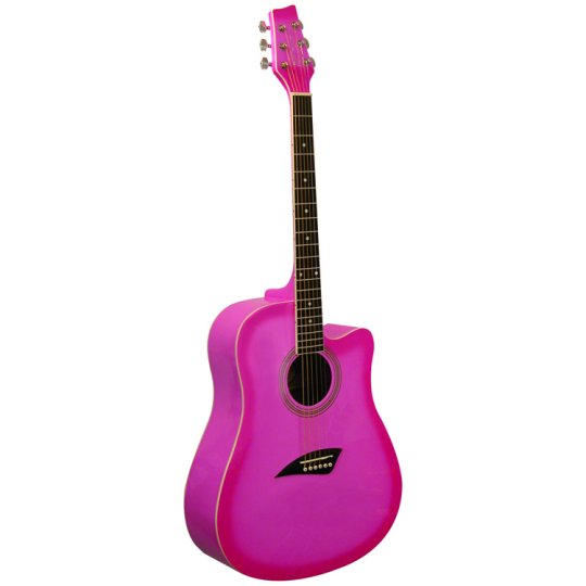 Kona K1 Series Acoustic Dreadnought Cutaway Guitar Gloss Pink Burst