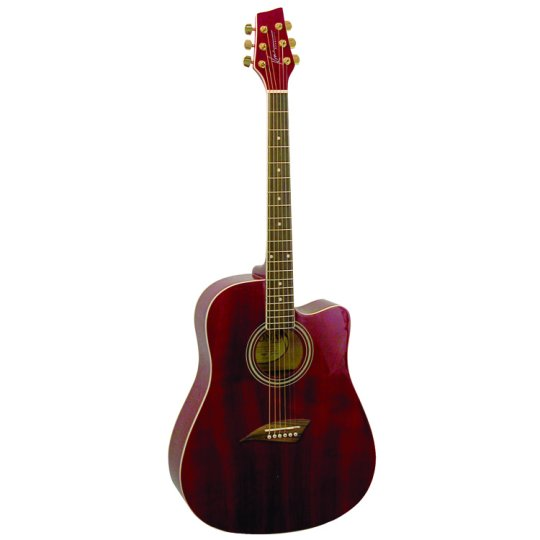 Kona K1 Series Acoustic Dreadnought Cutaway Guitar Transparent Red