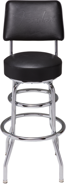 "Fender™ 30"" Blackout Backrest Barstool with Embossed Logo"
