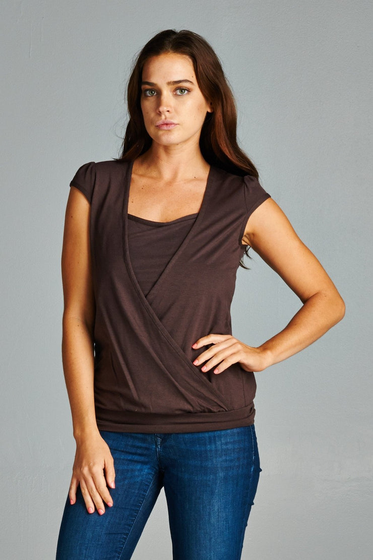 Women's Short Sleeve Square Neck Wrap Top