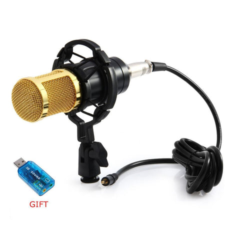 Computer Microphone 3.5mm Wired Condenser Sound Microphone With Shock Mount For Recording Broadcasting