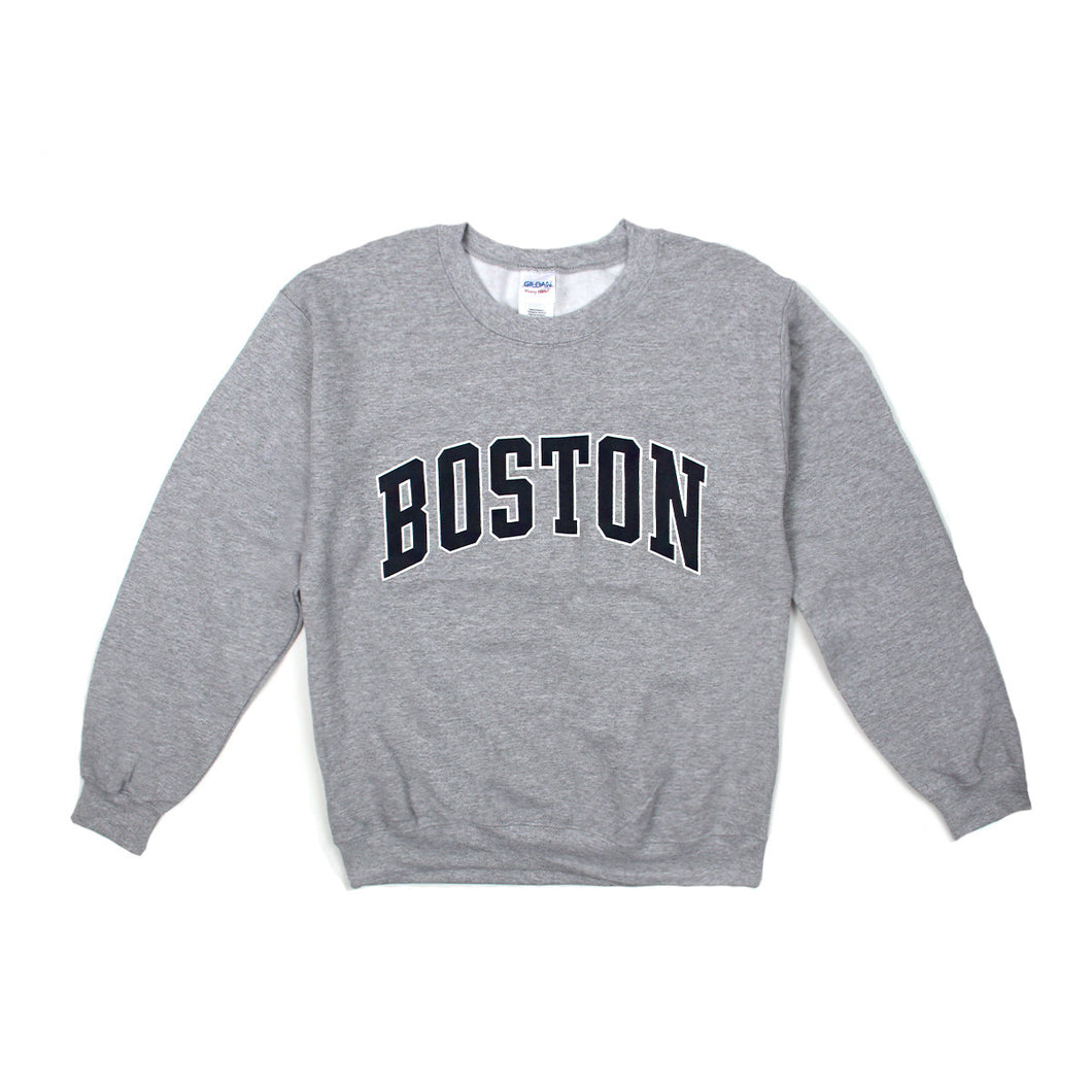 Womens Boston Logo Crewneck Sweatshirt (Grey)