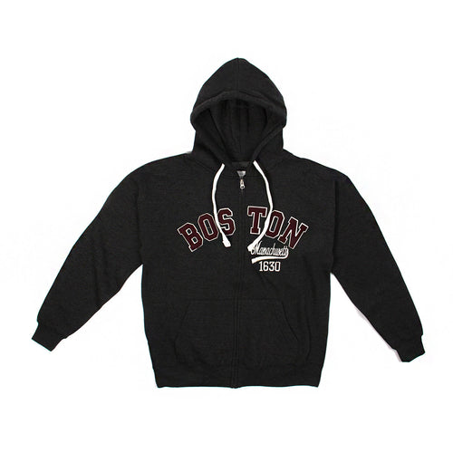 Boston Mass 1630 Zip-Up Hoodie (Dark Grey)