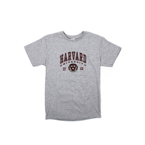 Womens Harvard Logo Arch & Crest Tee (Light Grey)